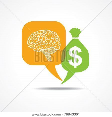 Brain and dollar symbol in message bubble stock vector