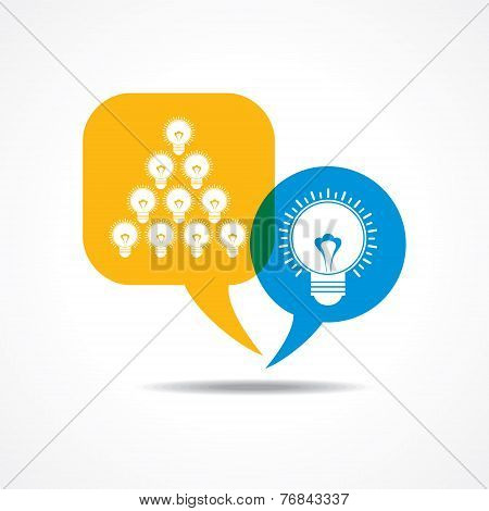 light-bulbs in message bubble stock vector
