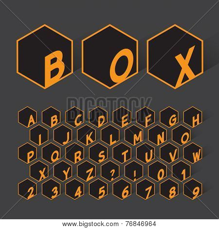 Geometric Box Alphabet And Numbers, Eps 10 Vector Editable