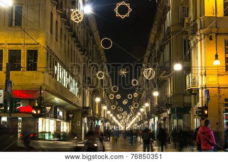 Light and Art in Garibaldi Street, Turin