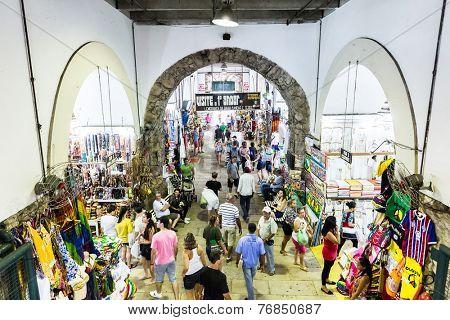 BAHIA, BRAZIL - CIRCA FEB 2014: The famous Mercado Modelo in Salvador, Bahia, Brazil.