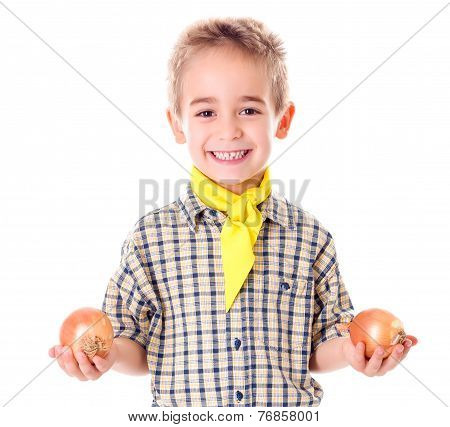 Little Agriculturist Holding Onions