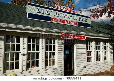 NASHVILLE, TN-NOV 6, 2014: The Loveless Lil' Biscuits Gift Store at The Loveless Motel and Cafe is Nashville, Tennessee. Known for southern style cooking, biscuits, country ham, and red-eye gravy.