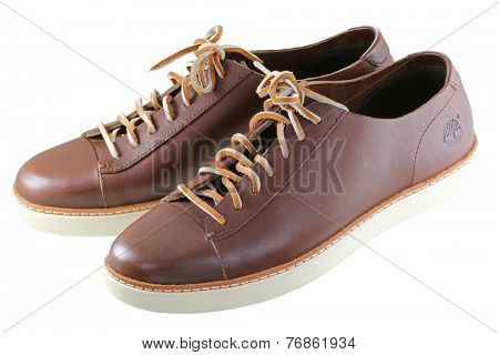 BANGKOK, THAILAND - OCTOBER 2014 : A pair of Timberland Leather shoes on 10 October 2014 in Bangkok, Thailand. Timberland is a brand of an American manufacturer that focuses on outdoor wear.