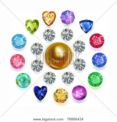 Set of colored located on a circle gems isolated on white background, vector illustration poster
