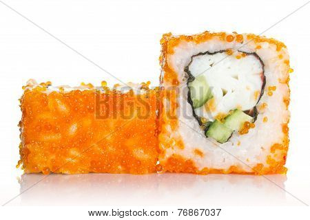 Sushi Roll With Crab And Orange Tobico ( Caviar ) Isolated On White Background