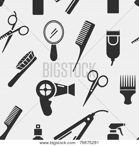Silhouette Hairdressing Tools in Seamless Pattern