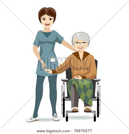 Senior Woman on Wheelchair and Nurse