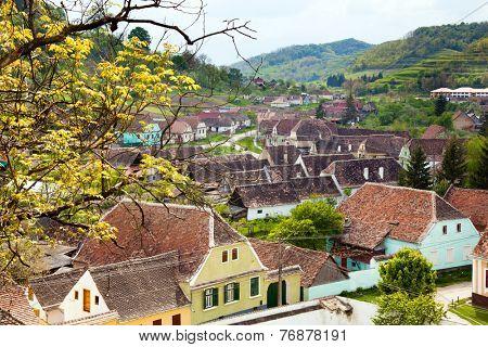 view of medieval Saxon village in Romania .In Transylvania region