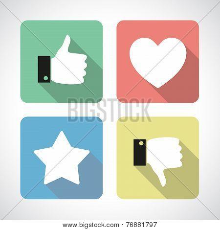 Like and dislike icons set
