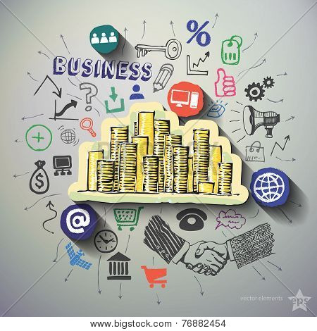 Marketing collage with icons background