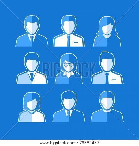 People icons. Business people. Avatar flat design icons. White business people avatars on darker background.