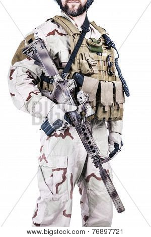 Bearded special warfare operator with assault rifle poster