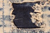 The photo of Grunge jeans patch taken closeup. poster