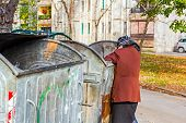 Homeless woman is searching for food in garbage dumpster. Woman in poverty is searching something in container. poster