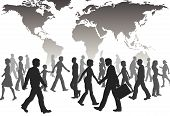A population of global people silhouettes walk under world map. poster