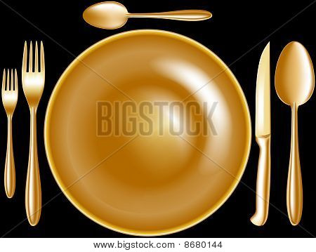 spoon knife fork plate