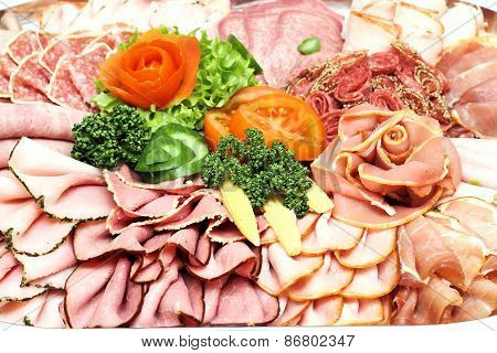 Meat Sausage Slices Assortment On Plate
