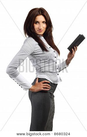 Young Woman Stands With Electronic Book