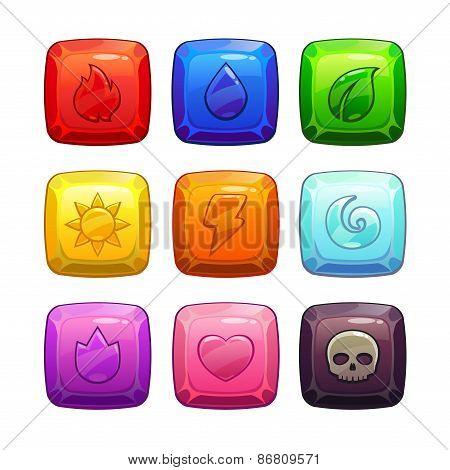 Colorful square gem stones