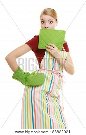 Housewife In Kitchen Apron Surprised Face Wide Eyes
