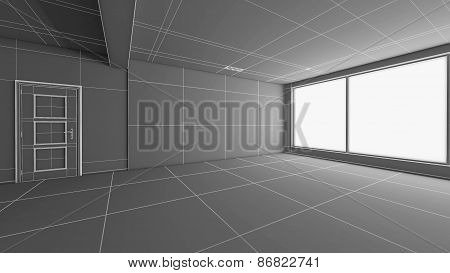 Interior Rendering Of An Empty Room Without Textures