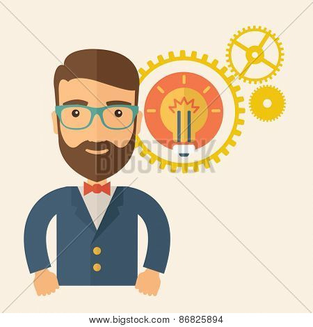 A young good looking, smart hipster Caucasian man with beard thinking a new bright idea, a different kind of imagination inspired by bulb shape. Human intelligence concept. A contemporary style
