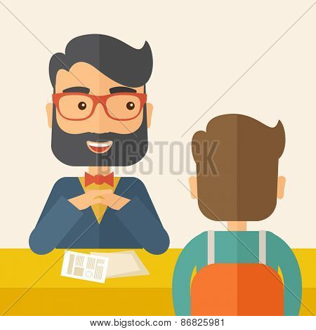 A smiling Caucasian human resource manager with beard interviewed the applicant with his curriculum vitae for the job vacancy.  Employment, recruitment concept. A contemporary style
