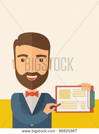 A handsome hipster Caucasian man wearing blue jacket holding his clipboard with paper where he wrote his report happily presenting his marketing plan. Marketing strategy concept. A contemporary style poster