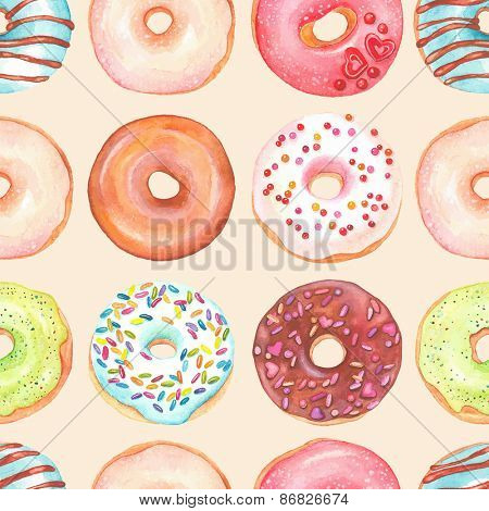 Seamless background of watercolor colorful donuts glazed.