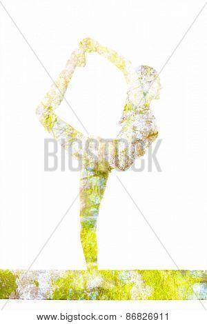 Nature harmony healthy lifestyle concept - double exposure image of  woman doing yoga asana Lord of the Dance Pose (Natarajasana) asana in ashtanga vinyasa style exercise isolated on white background