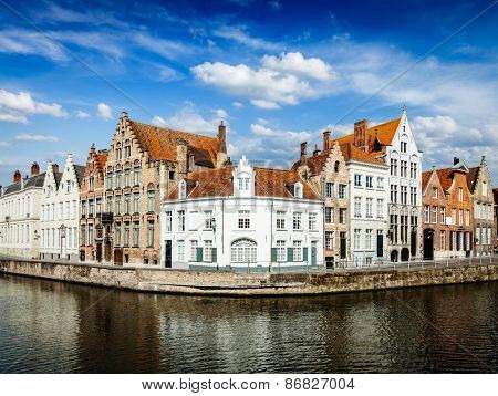 Benelux EuropeTravel  concept - Bruges canal and old historic houses of medieval architecture. Brugge, Belgium