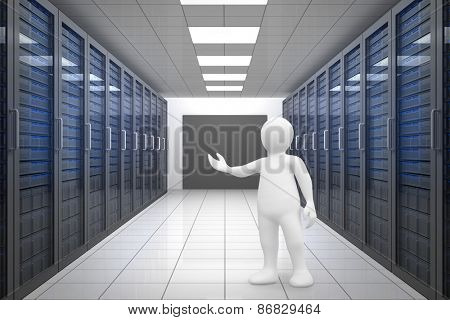 White character orating against server room with towers