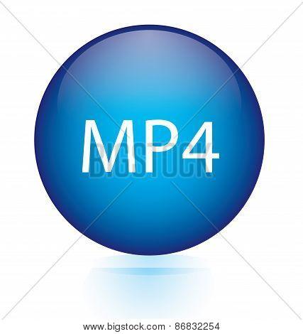 MP4 blue circular button