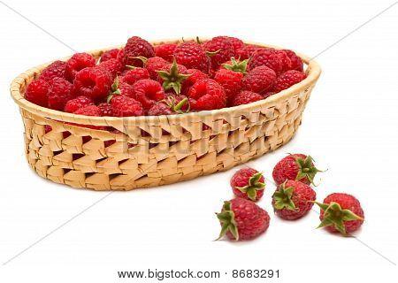 Fresh Raspberries (rubus Idaeus) In The Basket