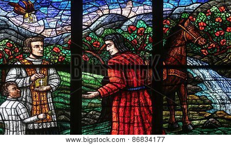 VIENNA, AUSTRIA - OCTOBER 11: Window dedicated to Rudolf I, Stained glass in Votiv Kirche (The Votive Church). It is a neo-Gothic church in Vienna, Austria on October 11, 2014