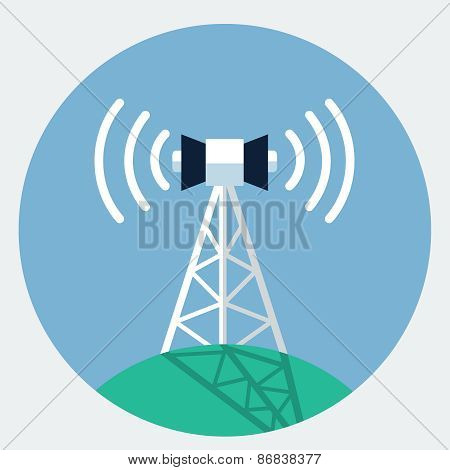 Vector antenna tower icon, design element for mobile and web applications, eps 10 poster