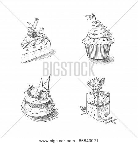 hand drawn confections dessert pastry bakery products cupcake pie muffin