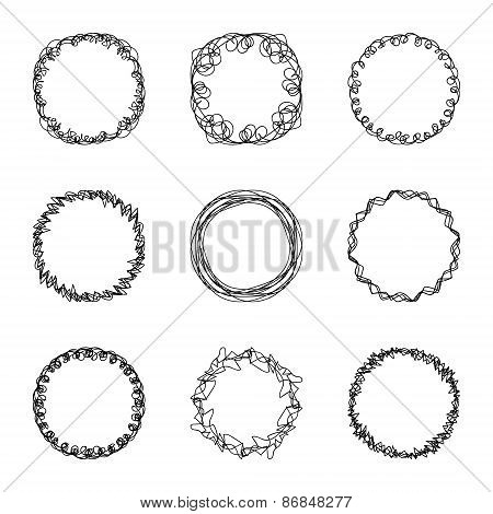 set of nine abstract chaotic round frame brush sketch