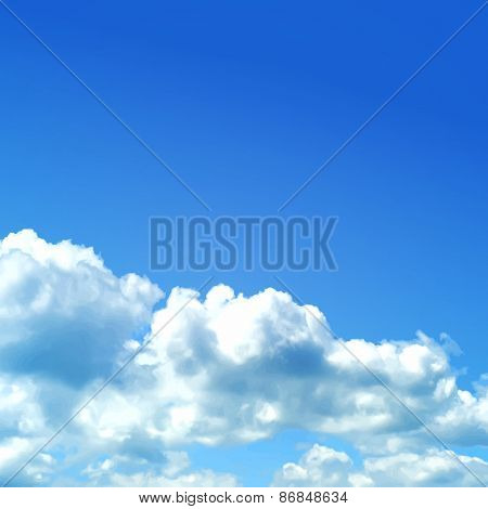 Sky with clouds vector illustration.