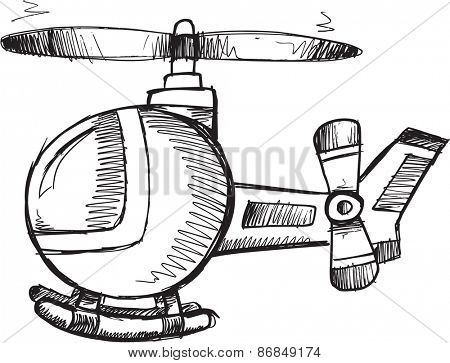 Doodle Sketch Helicopter Vector Illustration Art