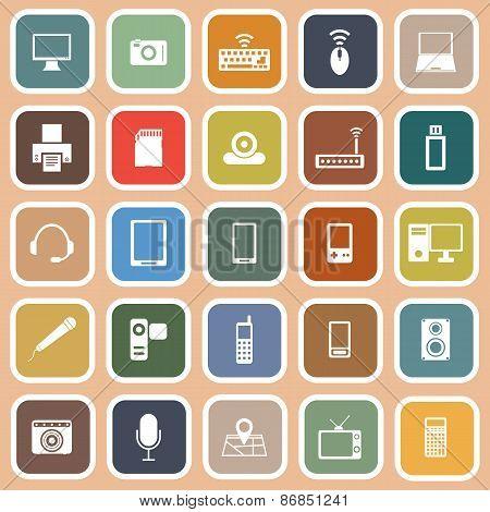 Gadget Flat Icons On Orange Background