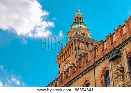Clock Tower And Facade Of The Palazzo Comunale In Bologna. Italy