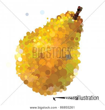 Vector ripe pear that consists of circles