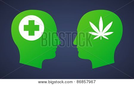 Head Set With A Marijuana Leaf And A Pharmacy Sign