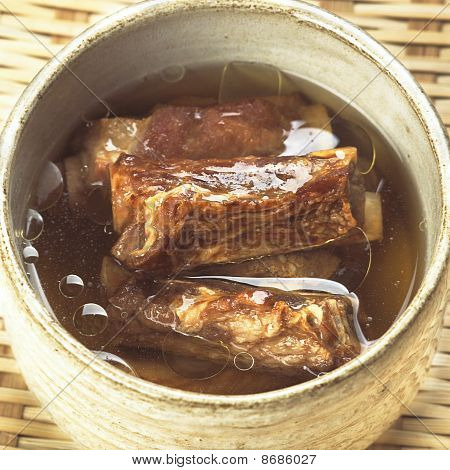 tradtional chinese cuisine pork rib broth close up poster