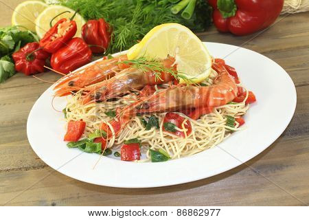 Prawns with Mie noodles with vegetables and lemon poster