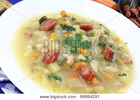 Hot Hearty Cabbage Soup With Mettwurst Sausage