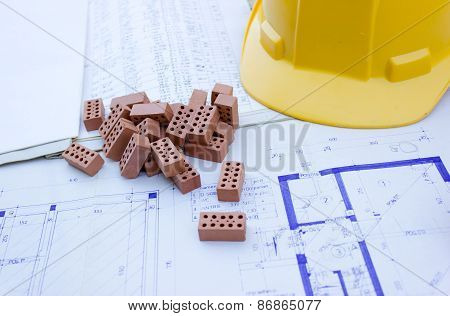 House project and specifications of material of bilding poster