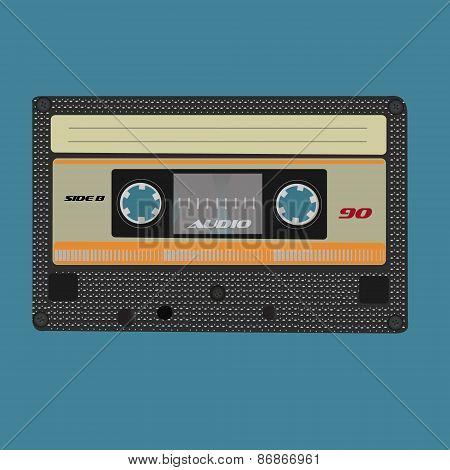 Retro audio cassete. Vintage color.